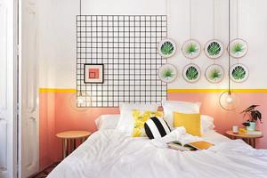 都市小清新风格小户型卧室背景墙装修效果图