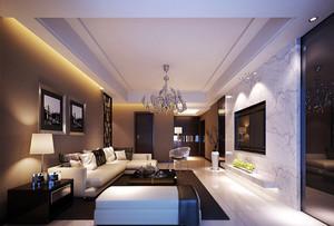 现代简约风格大户型客厅电视背景墙装修效果图