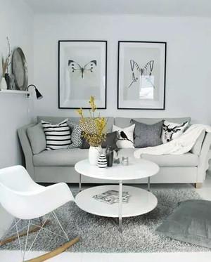北欧风格小户型客厅灰色地毯设计效果图