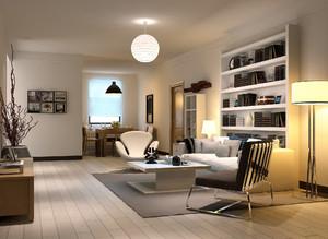110平米现代简约风格客厅书房装修效果图