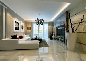 80平米现代简约风格客厅电视背景墙装修效果图