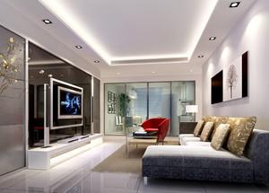 三居室现代简约风格客厅镜面电视背景墙装修效果图
