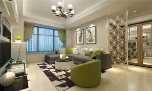 现代风格温馨舒适客厅镂空隔断设计效果图