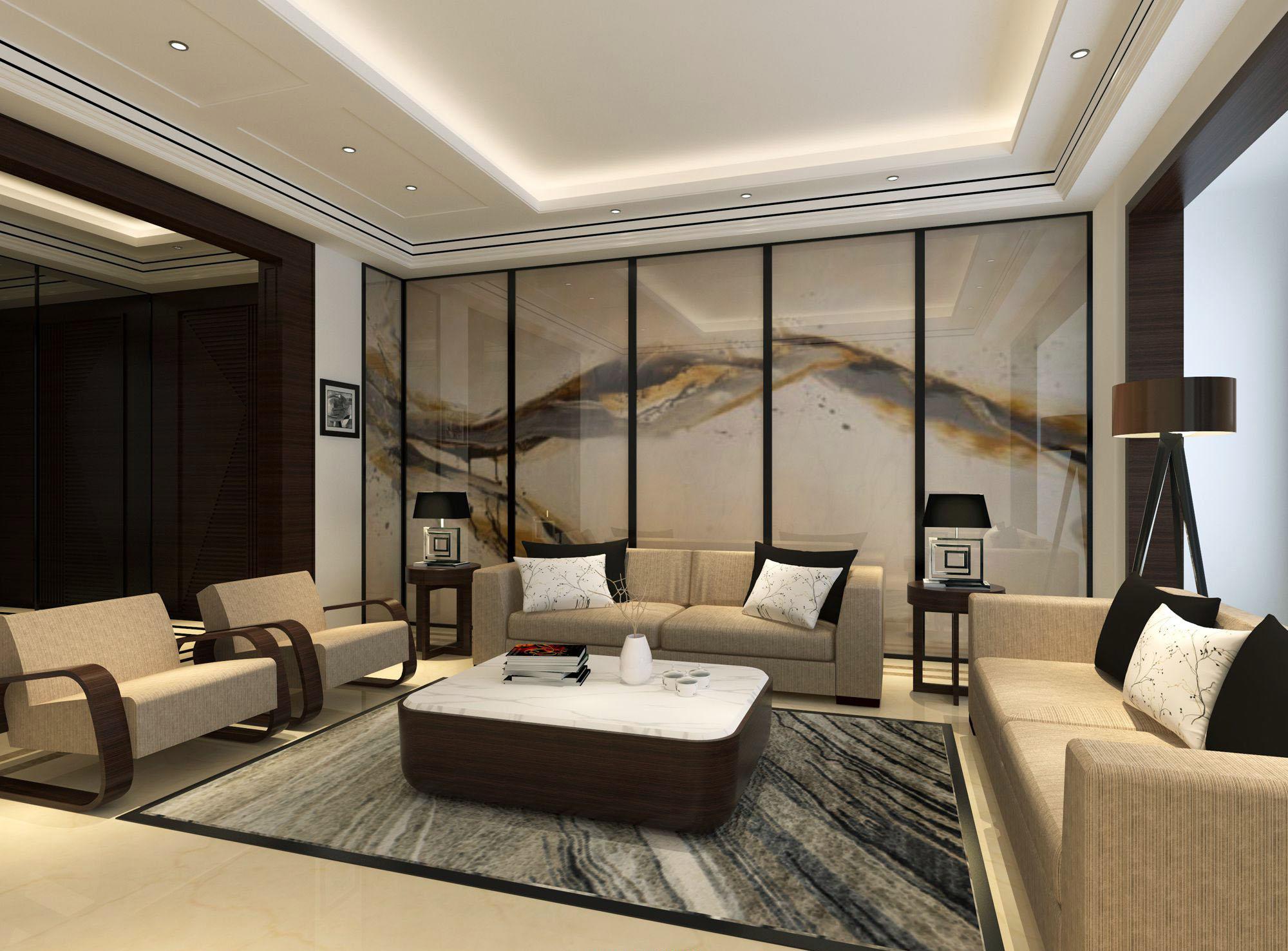 大户型中式风格客厅沙发背景墙装修效果图