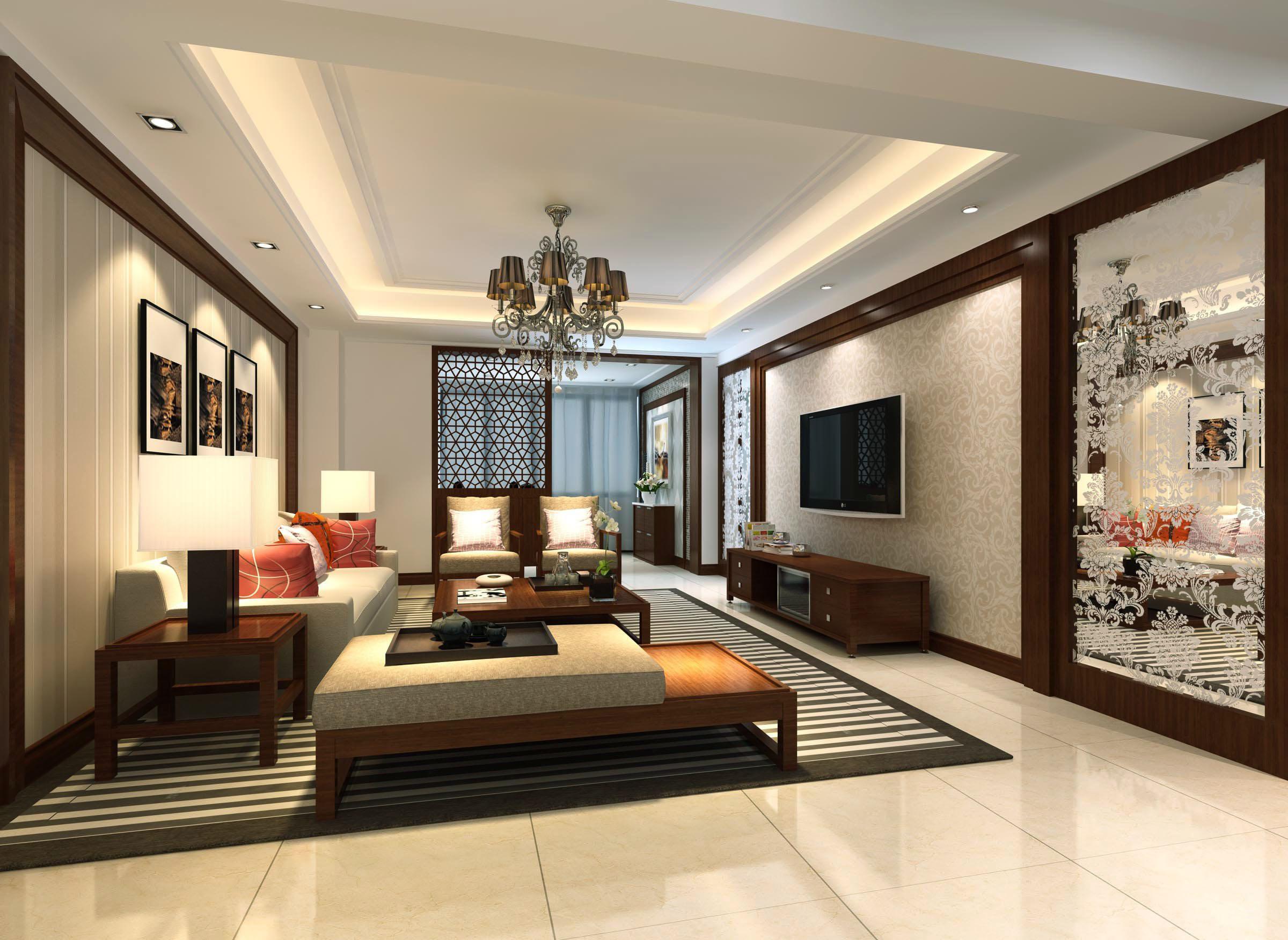 现代中式混搭风格客厅吊灯设计效果图