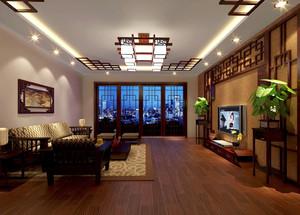 三室一厅新中式风格客厅吊吊顶设计实景图