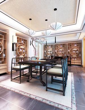 新中式风格别墅书房博古架设计效果图