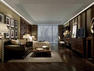 三居室古典美式风格卧室吊顶装修效果图