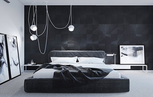 后现代风格单身公寓黑色空间卧室装修效果图