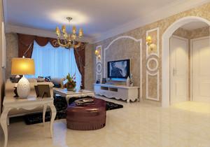 110平米简欧风格客厅电视背景墙装修效果图赏析