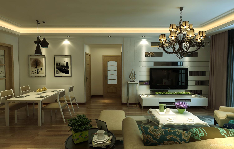 美式风格大户型客厅吊灯设计效果图