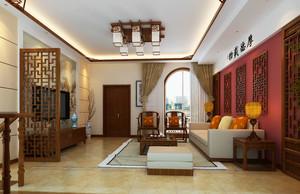 110平米现代中式风格客厅隔断设计效果图赏析