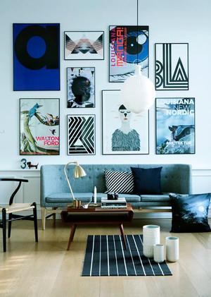 小户型北欧风格客厅照片墙设计效果图