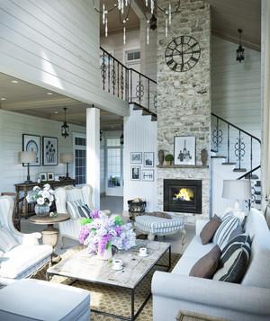 地中海风格复式楼客厅装修效果图鉴赏