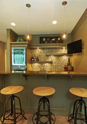 110平米复古风格吧台设计效果图