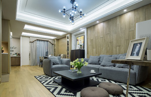 120平米简约风格客厅时尚马赛克地毯效果图