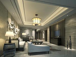 中式混搭风格大户型客厅装修效果图赏析