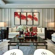 大户型中式风格客厅背景墙装修效果图赏析