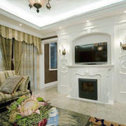 110平米欧式风格客厅电视背景墙装修设计效果图