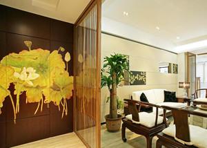 110平米中式风格客厅隔断设计效果图赏析