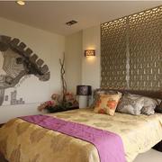 15平米东南亚风格卧室背景墙装修效果图赏析