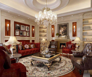 别墅型法式风格奢华客厅吊顶装修实景图赏析