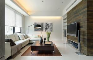 125平米现代简约风格客厅电视背景墙装修效果图