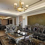 别墅型复古欧式风格奢华客厅背景墙装修效果图