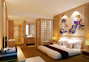 两室一厅日式简约风格卧室背景墙装修效果图