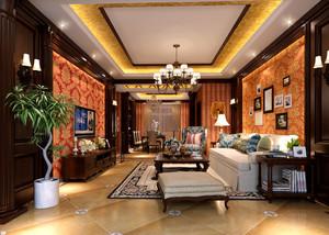 美式乡村风格大户型客厅电视背景墙装修效果图
