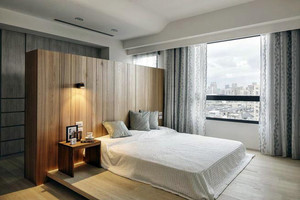 现代极简主义风格卧室实木背景墙装修效果图