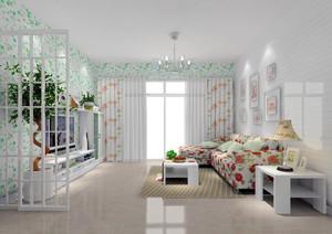 现代田园风格小户型客厅窗帘设计效果图鉴赏