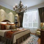 120平米欧式田园风格古朴卧室吊灯设计实景图