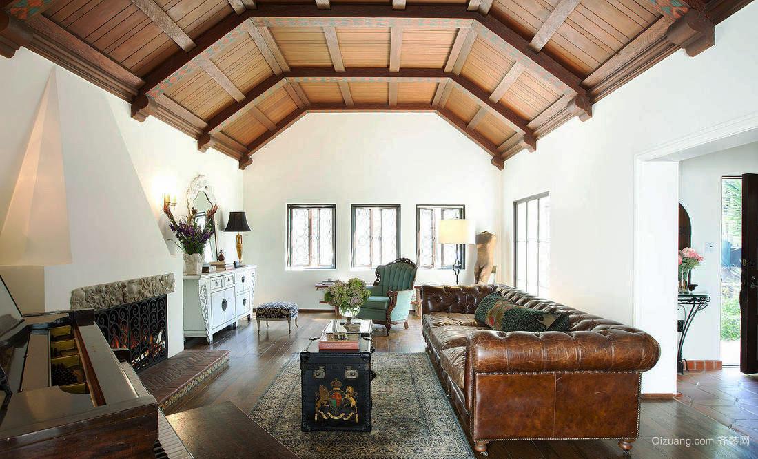 别墅型美式乡村风格混搭客厅实木吊顶效果图
