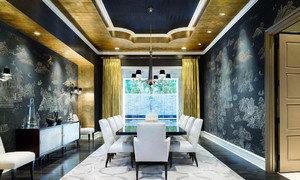 欧式风格混搭中式餐厅背景墙装修效果图
