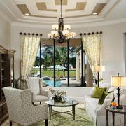 欧式田园风格创意别致客厅吊顶设计效果图