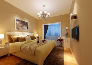 90平米简欧风格卧室水晶吊灯装修效果图