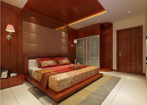 现代中式风格15平米卧室背景墙装修效果图大全