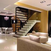 现代简约风格复式楼客厅楼梯装修效果图