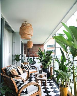 5平米东南亚风格阳台护栏装修效果图
