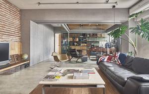 大户型现代工业风格客厅隔断设计装修效果图