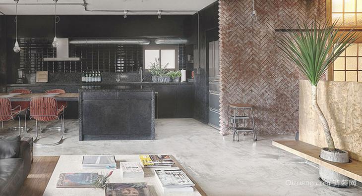 125平米现代工业风格开放式厨房装修效果图