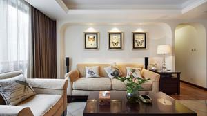 简约美式风格三居室客厅沙发背景墙装修效果图