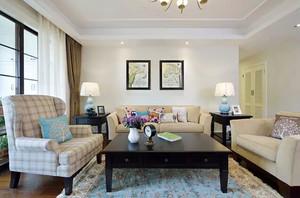 美式简约风格三室两厅设计装修效果图赏析