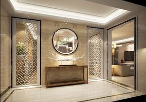 现代中式风格别墅入户门厅背景墙装修效果图