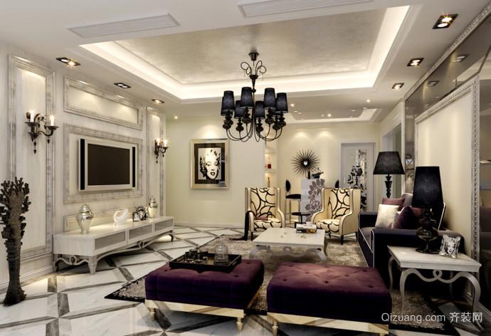 现代法式风格大户型客厅电视背景墙装修效果图