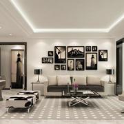 80平米现代简约客厅沙发背景墙装修效果图