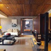 后现代风格大户型客厅实木隔断装修效果图