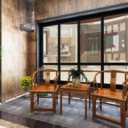 现代中式风格封闭式阳台设计装修效果图赏析