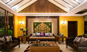 135平米东南亚风格精致客厅背景墙装修效果图
